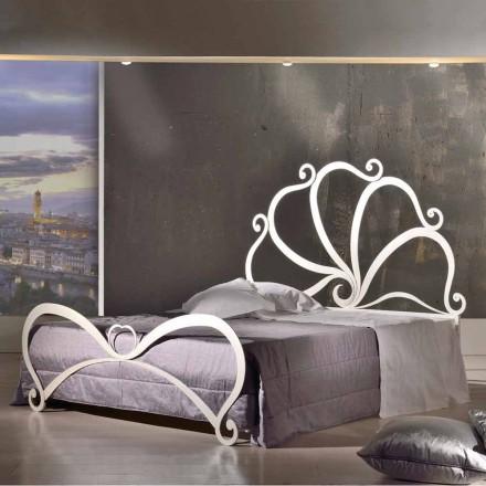 Cama de casal de ferro com decorações de cristal Eden, made in Italy