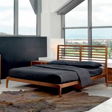 Cama de design moderno Didimo, estrutura sólida cama de nogueira, feita na Itália