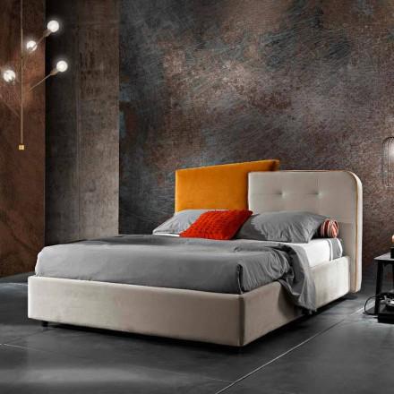 Cama de casal de design moderno em veludo cinza e laranja - Plorifon