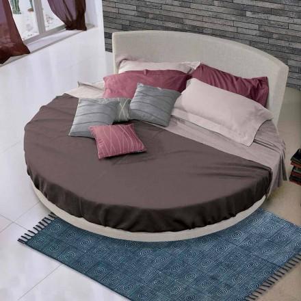 Cama de casal Redonda Design Coberta em Tecido, Fabricado na Itália - Rello