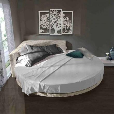 Cama de casal redonda moderna com cabeceira angular Made in Italy - Tima