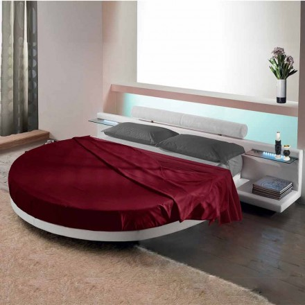 Cama de casal redonda forrada de couro ecológico, Made in Italy Design - Vesio