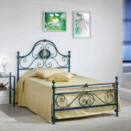 Ferro forjado pequena cama de casal Gloria, design clássico, feito à mão na Itália
