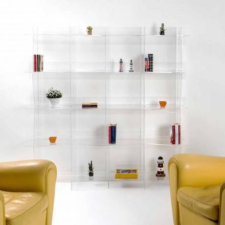 Estante de parede design moderno Pam Pam, acabamento transparente