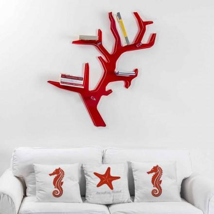 Estante de parede vermelha Carol, design moderno, feito na Itália