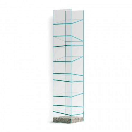 Estante Design Piso em Vidro com Base em Aço Made in Italy - Biba