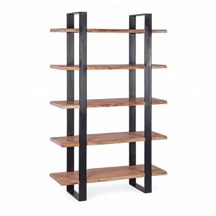Estante Moderna Homemotion com piso de aço e prateleiras de madeira - Lanza