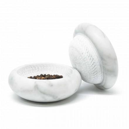Moinho de pimenta em mármore Carrara de cetim branco moderno Made in Italy - Faron