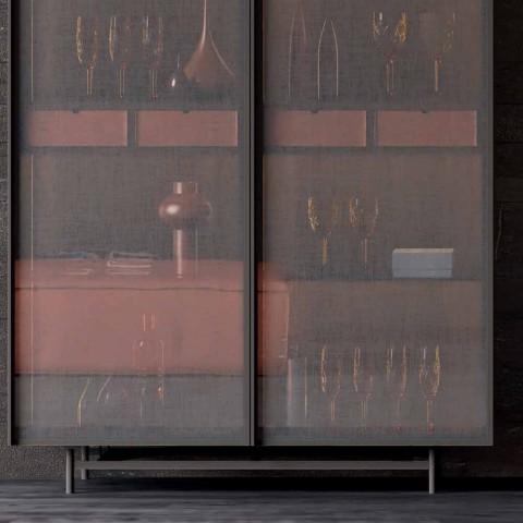 Aparador de 2 portas em Madeira Ecológica e Metal Design Sala ou Entrada - Aaron