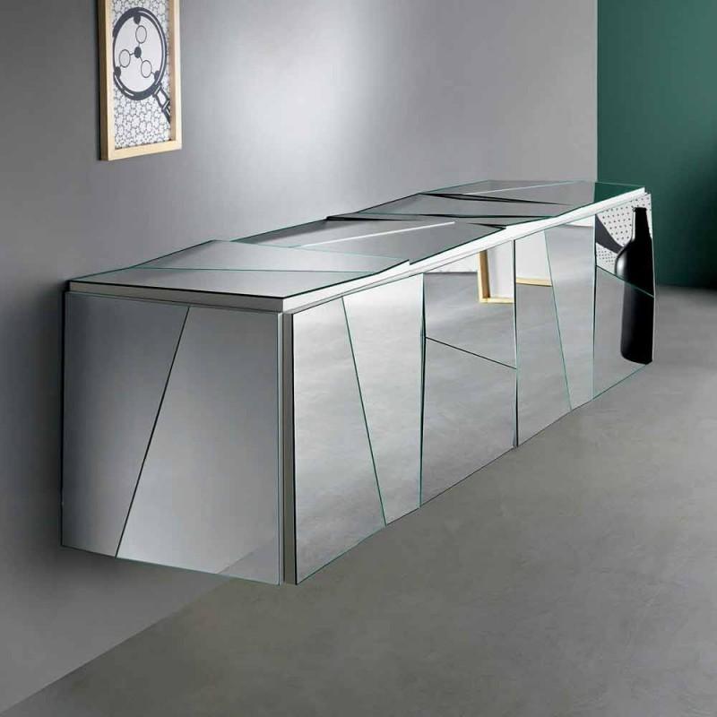 Aparador suspenso de parede em madeira branca mate e vidros espelhados - Senese
