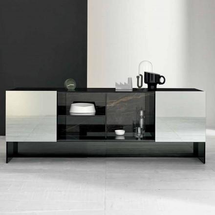 Aparador Design de Entrada com 2 Portas em Smokey Glass Made in Italy - Scocca