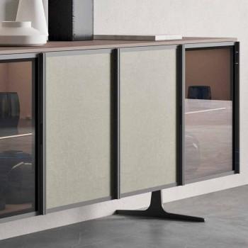 Aparador da Sala em Madeira Ecológica e Vidro 4 Portas Made in Italy - Aaron