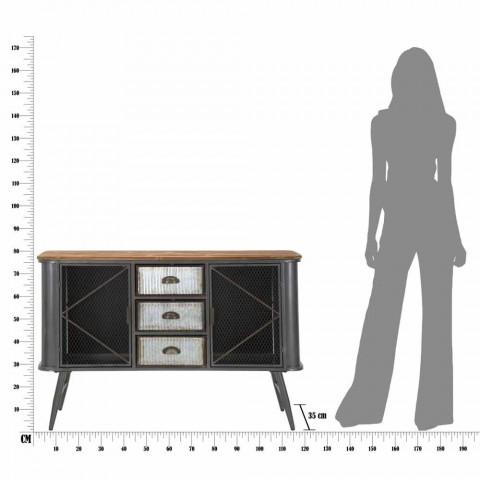 Aparador moderno para sala de estar em ferro e madeira - Akimi