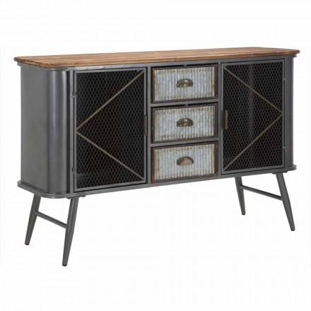 Aparador de sala com design industrial vintage em ferro e madeira - Akimi