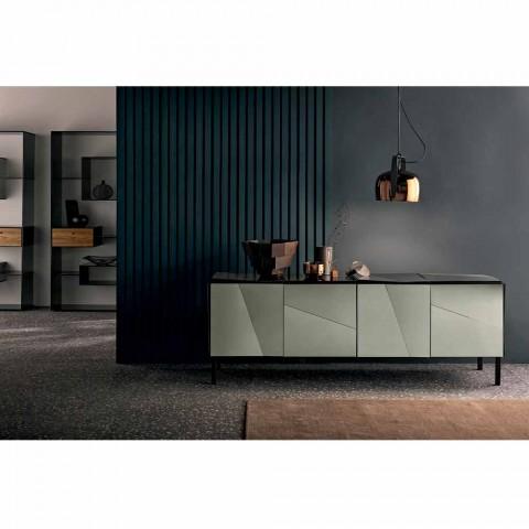 Aparador móvel da sala de estar em Matt Black Wood com espelhos defumados e pernas - Senese