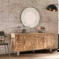 Aparador étnico de design em madeira de manga envernizada Centola