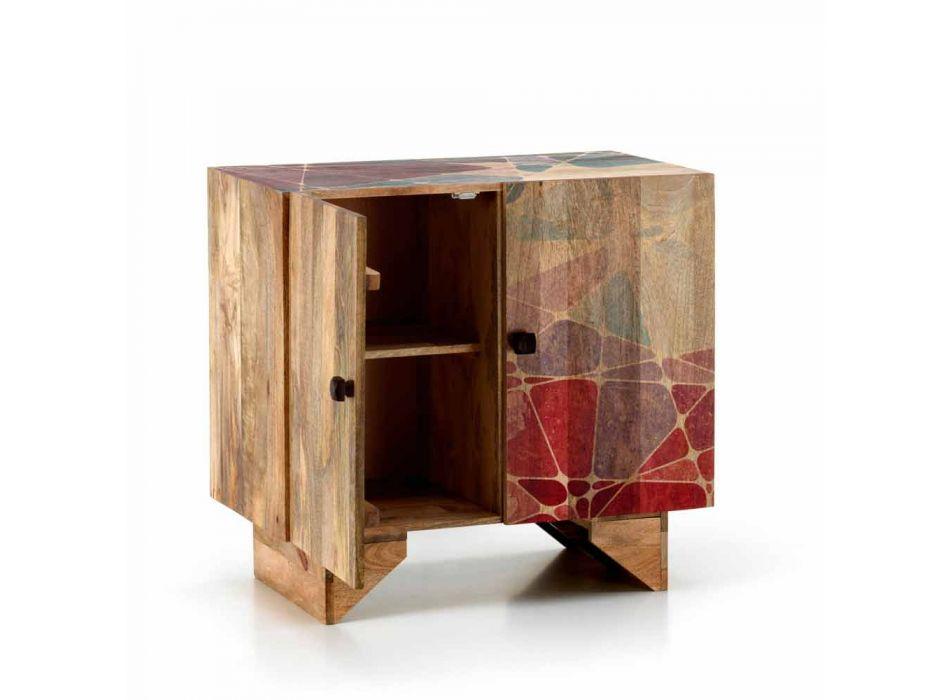 Aparador étnico moderno em madeira maciça de manga, Cecina