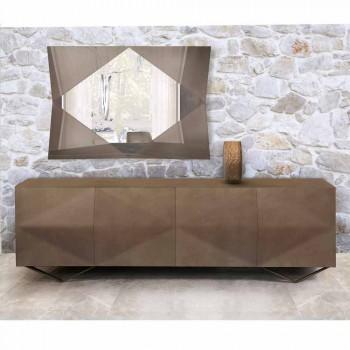 Aparador de madeira com 2 ou 4 portas e prateleiras de cristal Made in Italy - Gardena