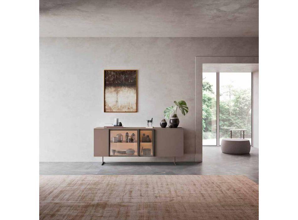 Aparador Ecológico em Madeira, Vidro e Metal para Sala 4 Portas Design - Bruno