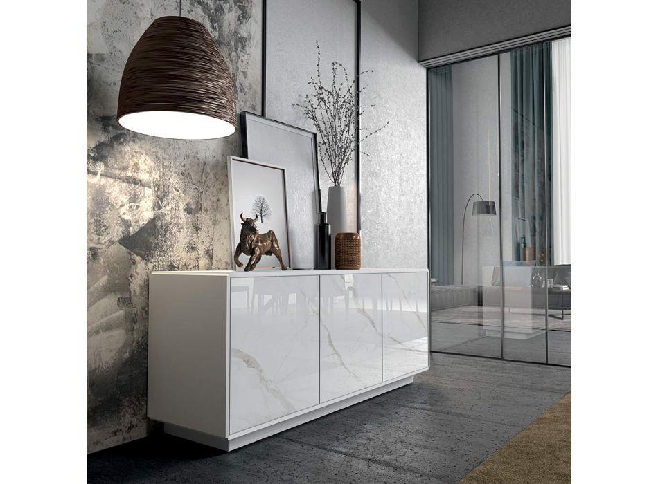 Aparador em Madeira Lacada com 2 ou 3 Portas Cerâmicas Made in Italy - Fiorenza