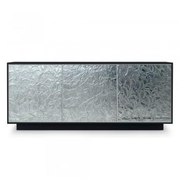 Aparador em madeira lacada mate com portas de vidro Made in Italy - Fiorenza