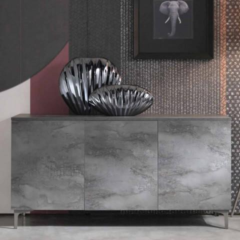 Aparador moderno com três portas em melamina bronze ou cinza fabricado na Itália - Clemente