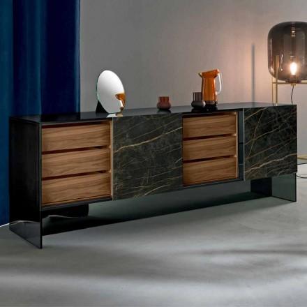 Aparador da sala de estar com 2 portas em estrutura de cerâmica e vidro Smokey fabricado na Itália - Scocca