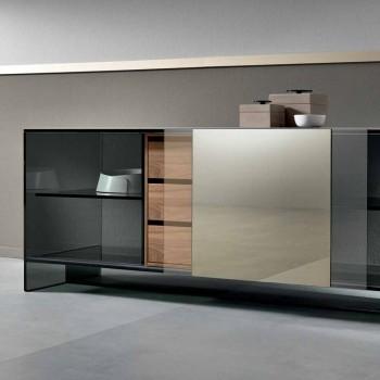 Aparador de sala de vidro fumado com porta de espelho de bronze feita na Itália - bobo