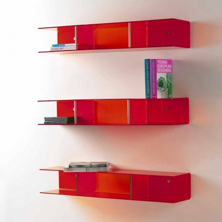 Prateleira de design moderno Taira, feita de metacrilato transparente