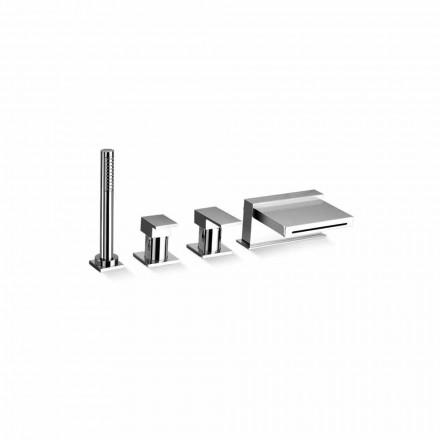Misturador para banheira de 4 furos com bico cascata Made in Italy - Panela
