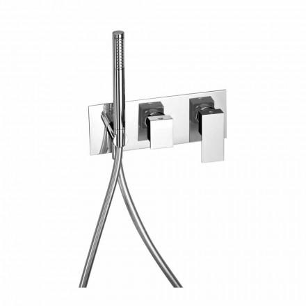 Misturador de chuveiro embutido com desviador de latão Made in Italy - Panela