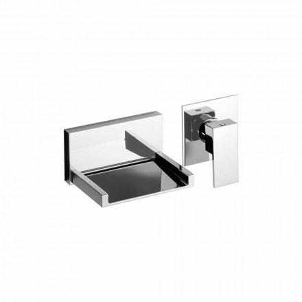 Misturador moderno para lavatório montado na parede com bico em cascata feito na Itália - Bibo