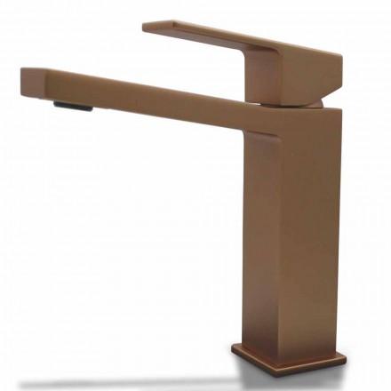 Misturador para lavatório moderno com design quadrado de latão cromado ou colorido - Zago