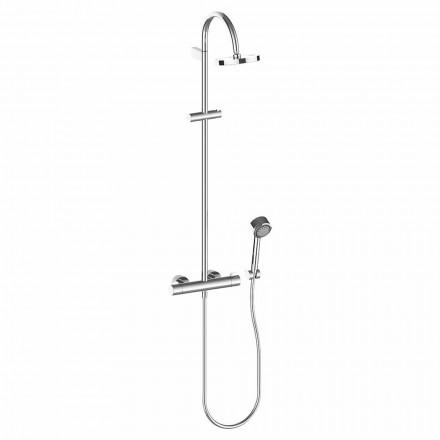 Coluna de duche com cabeça de duche e duche de mão em latão cromado de elevada qualidade - Zanio