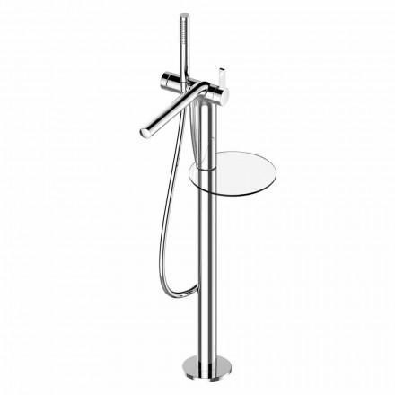 Misturador monocomando para banheira independente com chuveiro de mão em latão - Pinto