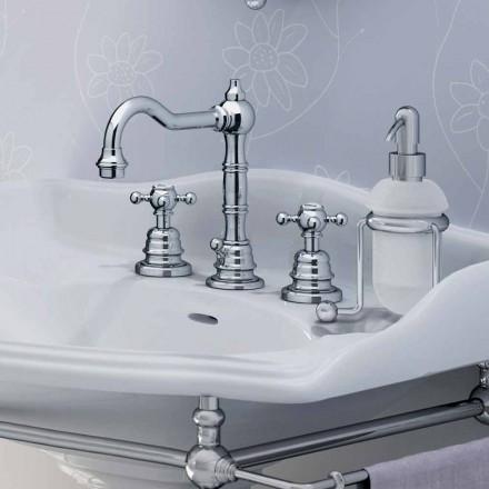 Misturador moderno para pia de banheiro de latão com três furos feito na Itália - Binsu