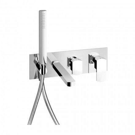 Misturador para banheira embutido com design moderno em latão fabricado na Itália - Sika