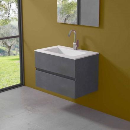 Gabinete Suspenso para Banheiro com Lavatório Integrado em 3 Dimensões - Marione