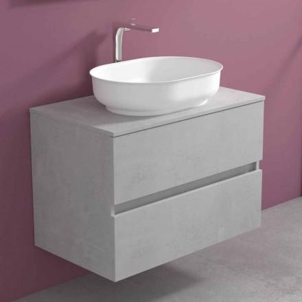 Móveis de Banheiro Suspensos com Lavatório Oval, Design Moderno - Cesiro