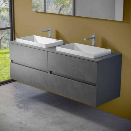 Móveis de banheiro suspensos com pia dupla embutida, design moderno - Dumbo
