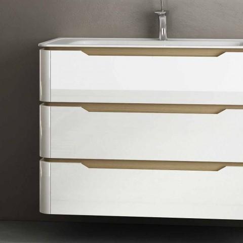Armário de banheiro com 3 gavetas de madeira Arya moderno, fabricado na Itália