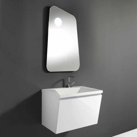 Móvel para casa de banho com lavatório e espelho de design em madeira e mármore mineral - Fausta