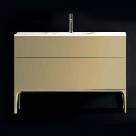 Vaidade do banheiro Ambra com lavatório, fabricada em madeira lacada 120x85x46cm