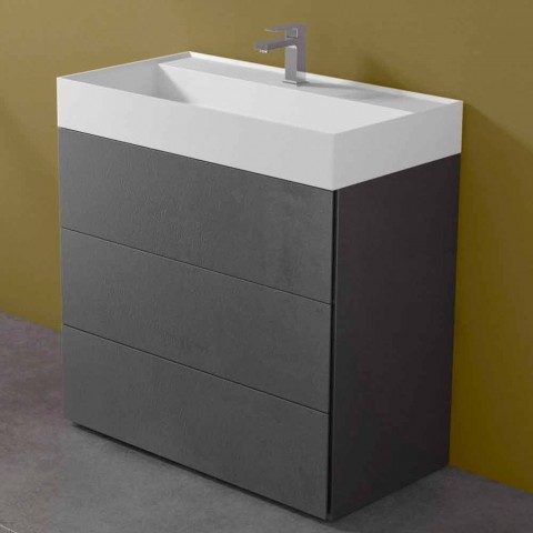 Armário de banheiro de piso laminado com design moderno e lavatório de resina - Pompeia