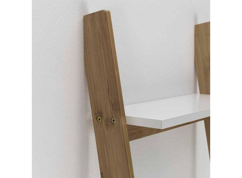 Armário de banheiro inclinado com 5 prateleiras em bambu e Mdf - Gianmarco