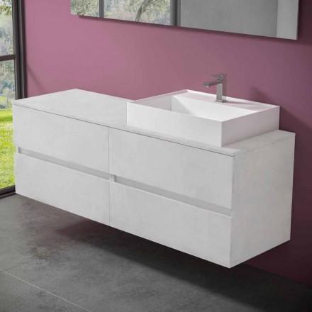 Gabinete de banheiro suspenso com lavatório de bancada de resina design - Alchimeo