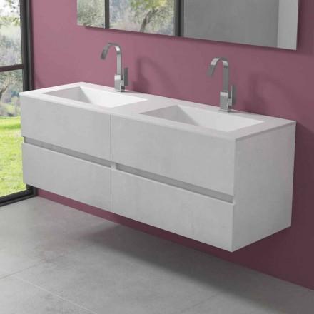 Gabinete de banheiro suspenso com lavatório duplo, design moderno em 4 acabamentos - duplo
