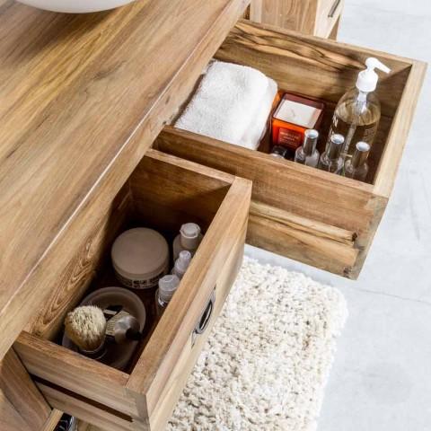 Armário de Banheiro em Madeira Teca Natural com 2 Gavetas - Faetano