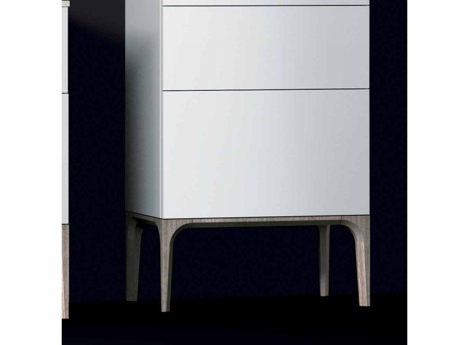 Armário de banheiro moderno com 3 gavetas em madeira lacada de âmbar, fabricado na Itália