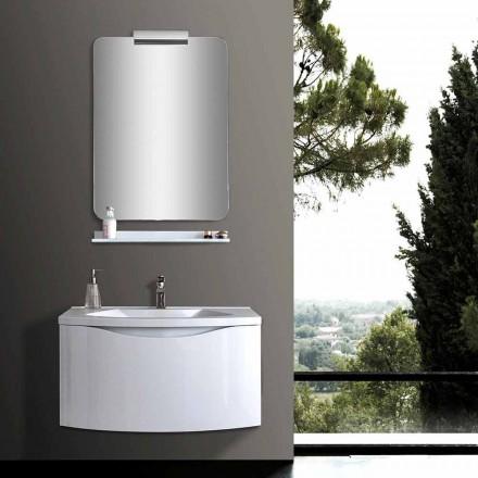 Armário de banheiro suspenso moderno branco com pia, prateleira e espelho de LED - Michele